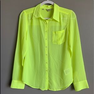 Guess Lime Green Button Down Blouse